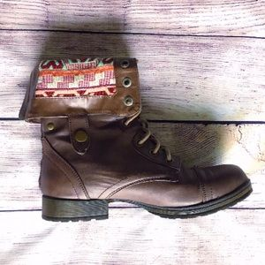 Multiway Combat Boots with Aztech Print